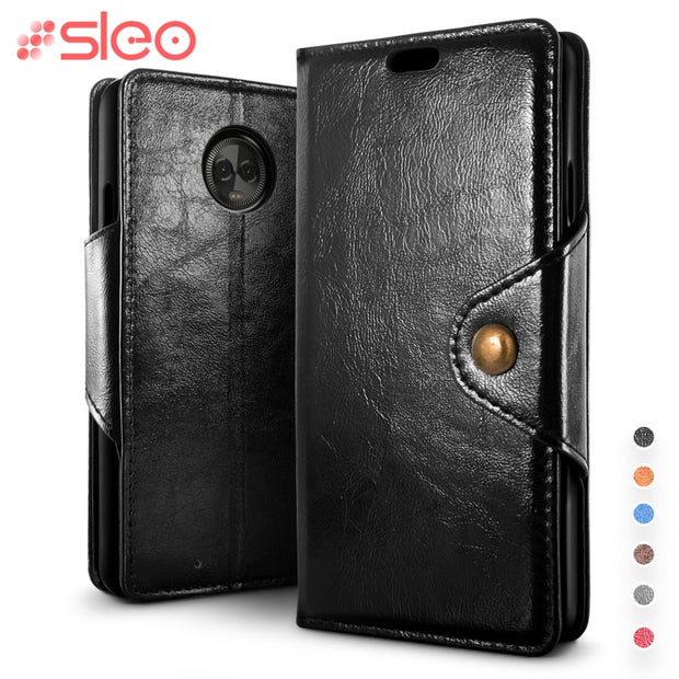 SLEO Retro PU Leather Case For Motorola Moto G6 Plus Case Cover Flip Leather Case For Motorola Moto G6 Cover Business Case