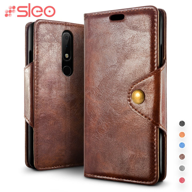 SLEO Retro PU Leather Case For Nokia X6 2018 Luxury Flip Cover For Nokia X6 2018/ 6.1 Plus Case Wallet Stand Cover Card Slot