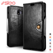 SLEO Retro PU Leather Case For Samsung Galaxy J4 2018 Luxury Flip Case For Samsung Galaxy J4 2018 Wallet Stand Back Cover