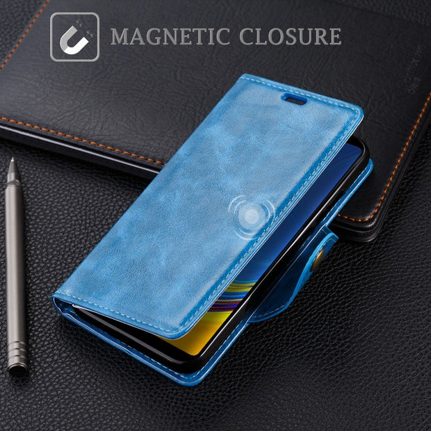 SLEO Retro PU Leather Case For Samsung Galaxy A9 2018 Case Wallet Flip Cover For Samsung Galaxy A9 2018 Phone Cases Cover 6.3""