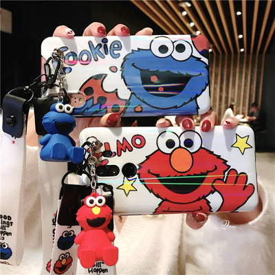 Sam S9 Plus Cookie Case, Cute Sesame Street Cover For Samsung Galaxy S8 S8plus Note 8 Note9 Cartoon Shell Case + Strap