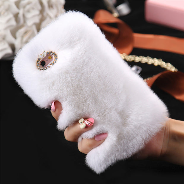 Seonstai Fur Case For IPhone 7 8 Plus Cases Coque Luxury Rabbit Hair Case For Iphone 6s Hairy Bling Diamond Slim Back Cover Capa