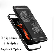 Silicone Case On For IPhone 5 5s Case For Apple Iphone 6 6s 7 8 Plus 6plus 7plus 5s 3D Carved Fish Armor Carbon Fiber Case Cover