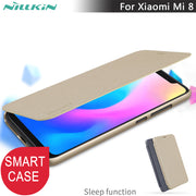 Smart Case For Xiaomi Mi 8 8 SE Nillkin Sparkle Smart Sleep Leather Flip Cover Case For Xiaomi Mi8 Smart Wake Up And Sleep Cases