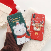 Snow Bear Merry Christmas Cover For IPhone 7 Case Can Flow For IPhone Red Moose Fundas IPhone XS Max TPU For IPhone X Case Capa