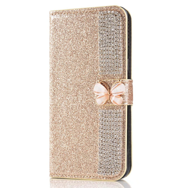 Snzvok Bowknot Glitter Card Slot Wallet PU Leather Phone Case Stand Cover For Huawei 6C Y7 P8 P9 Lite 2017 P10 Lite Plus