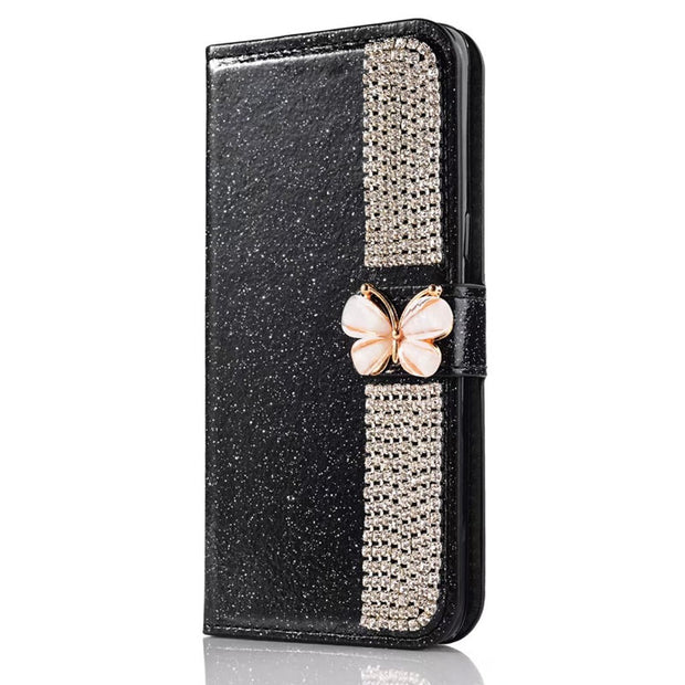 Snzvok Rhinestone Bowknot Flash Powder Glitter Card Slot Wallet Case PU Leather Phone Case Stand Cover For OPPO R11 Plus F3 A77