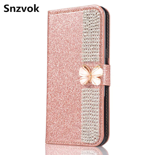 Snzvok Rhinestone Bowknot Flash Powder Glitter Case Card Slot Wallet PU Leather Phone Case Stand Cover For IPhone X 5 6 7 8 Plus