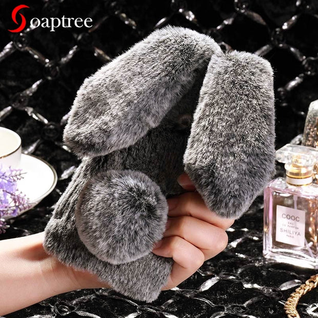 SoapTree Rabbit Fluff Silicon Case For BQ Aquaris V Case Cute Style For BQ Aquaris V 5.2inch Case Cover Housing Shell Bag