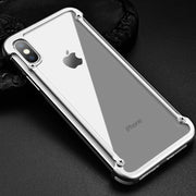 Solid Metal Frame Case For IPhone XS Max XR XS Hard Metal Frame Soft Rubber Side Shockproof Bumper Full Hollow Back Panel Design