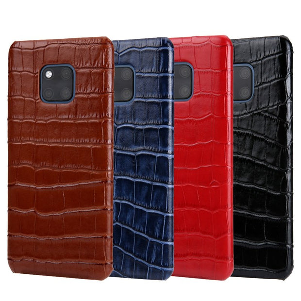 Solque Genuine Leather Case For Huawei Mate 20 Pro Luxury Real Leather Crocodile Ultra Thin Slim Mate20 Pro Phone Cover Cases