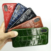 Solque Genuine Leather Case For IPhone XS MAX Cell Phone Luxury Crocodile Leather Hand Holder Strap Ultra Thin Hard Cover Cases