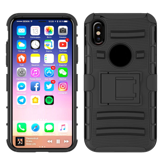 Sunjolly For Apple IPhone X Holsters Clips Phone Case Tough Armor Duty Stand Hard Back Cover Protective Fundas Coque Carcasa