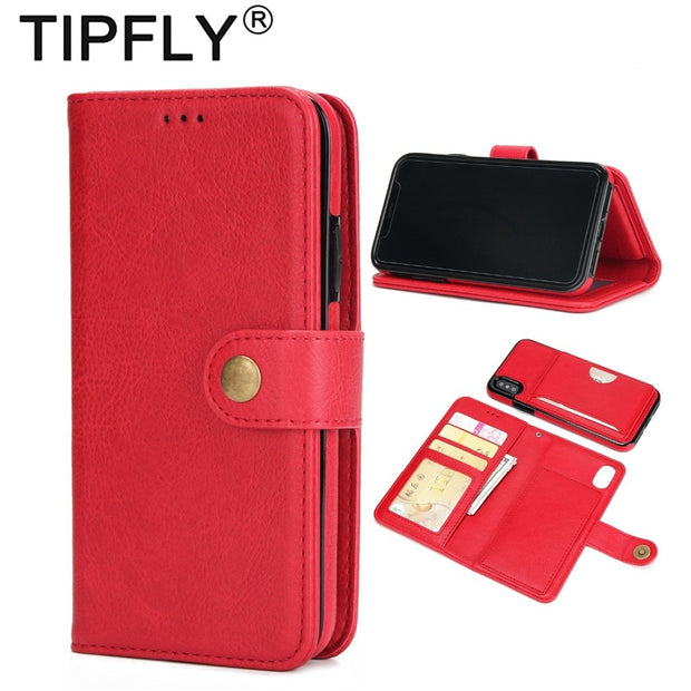 TIPFLY Magnet Flip Stand Wallet Case For IPhone X 10 2 In 1 Detachable PU Leather Cover Bag With Card Slots For IPhoneX