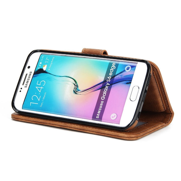 TIPFLY Magnetic 2 In 1 PU Leather Detachable Case For Samsung Galaxy S6 S7 Edge Flip Cover Stand Wallet Phone Bag W Card Slots