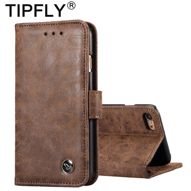 TIPFLY Matte Retro PU Leather Case Cover For IPhone 6 6S Plus Case Stand Wallet Flip Phone Cover For Apple IPhone 7 8 Plus