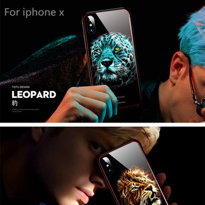 TOTU Luxury Case For Iphone X 10 Coque Glossy Leopard Lion Wolf Eagle Tempered Glass&TPU Back Cover For IphoneX Phone Case