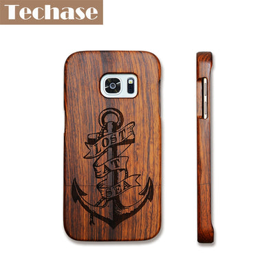 Techase Full Wooden Phone Cases For Samsung Galaxy S6 Edge Case Anchor/Skeleton/Wolf Back Covers For Samsung Galaxy S7 Cases
