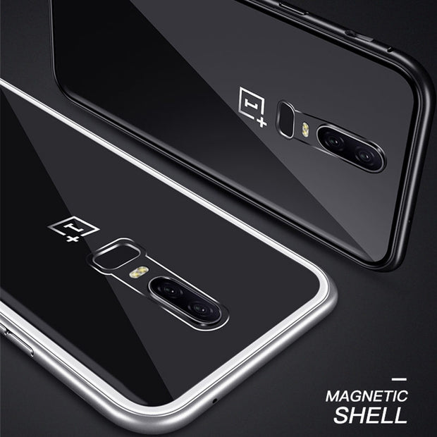 Tempered Glass 2 In 1 Case For OnePlus 6 Case Magnetic Adsorption Case Metal Bumper Hard Case For One Plus 6 1+6 Magneto Coque