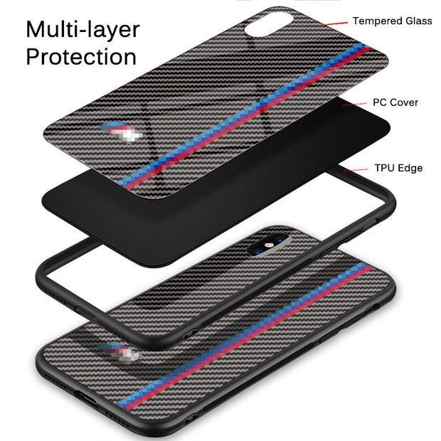Tempered Glass Carbon Fiber Case For IPhone X XS Max XR With Motorsport Car Logo Anti-Knock Phone Cover For IPhone 7 8 6 6s Plus
