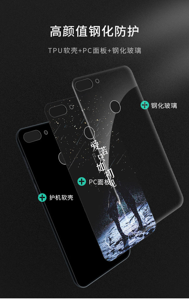 Tempered Glass Case For Huawei P Smart Full Cover Case + Tempered Glass Screen Protection Film For Huawei Enjoy 7S P Smart Case