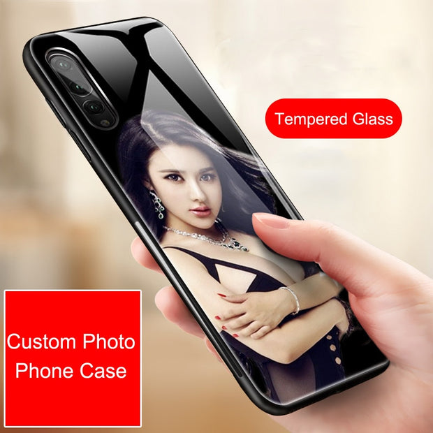 Tempered Glass Case For Huawei P20 P20 Lite Pro Case Private Custom Photo Phone Case Unique Bumper Coque Capa Case For Yourself