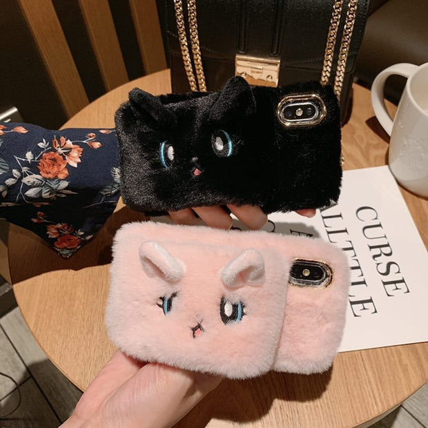 Tfshining Cute Cats Rabbit Plush Fur Case For IPhone XR XS Max 6 6s 7 8 Plus Soft Silicon Warm Hands Fluff Glove Back Cover Capa