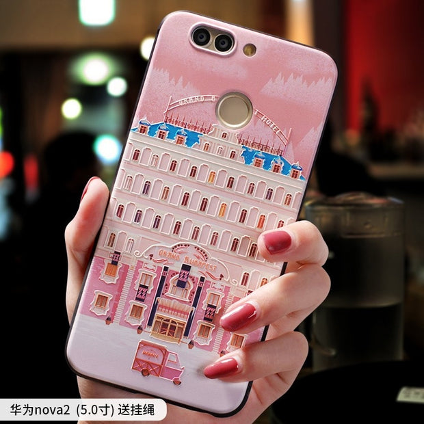 The Grand Budapest Hotel Small Sleep Pink Embossed Relief Case For Huawei Nova 2 Plus Nova2plus, Nova 2 2s, Nova2 Nova2s Case