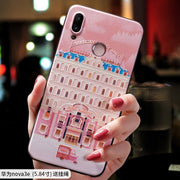 The Grand Budapest Hotel Small Sleep Pink Embossed Relief Case For Huawei Nova 3 3i 3e, Nova3i Nova3, Nova3e P20lite Case Cover