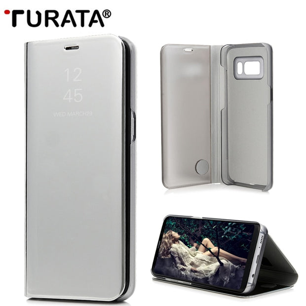 Turata Smart Clear View Mirror Cases For Samsung Galaxy S7 Edge S8 Plus Note 5 Leather Flip Stand Case For Note5 S7 Cover Coque