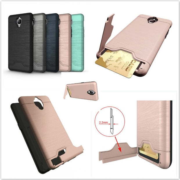 Two In One Combo PC + TPU Card Bracket Phone Case For OnePlus 3 5.5inch Seismic Drop Resistance Cover Armor Capa
