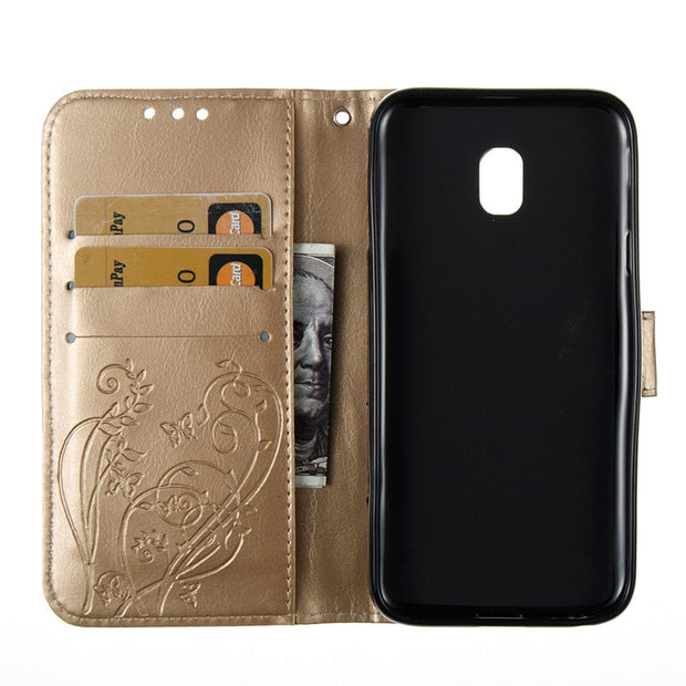 UPaitou Luxury 3D Embossing Flower Flip Wallet Cover For Samsung Galaxy J3 2017 J330F PU Leather Case For Samsung J3 2017 Pouch