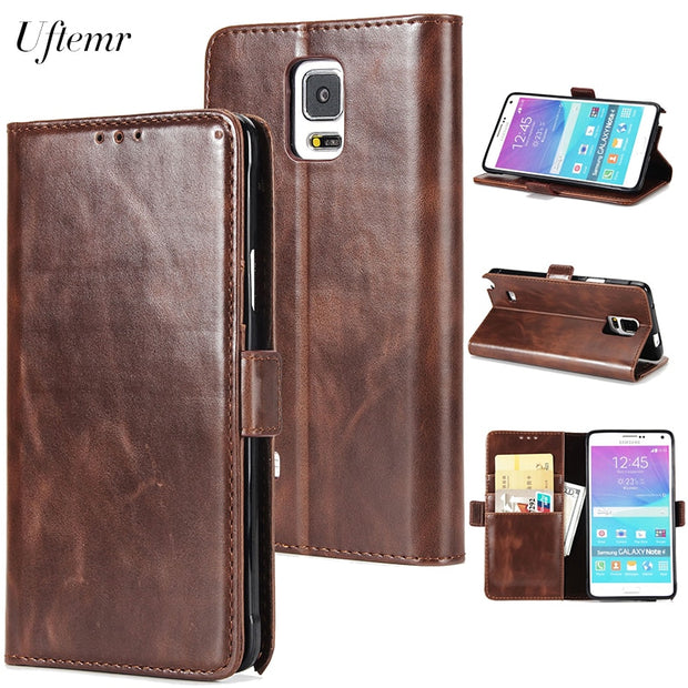 Uftemr Wallet Cases For Samsung Galaxy Note 4 Coque Fundas Etui Capinha Hoesje Carcasa Leather Case Cover Card Slot Stand