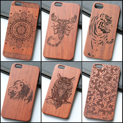 Unique For IPhone 8 Plus Wood Cell Phone Case Wooden Tiger Owl Scorpion Flower Design Iphone8 8plus Case Wood Mobile Phone Cover