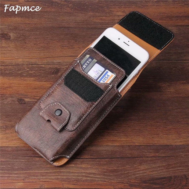 Universal Belt Clip Leather Wallet Phone Bags Case For BLU Studio G4 C6 Grand M3 R1 HD 2018 Vivo One XL3 Plus X With Card Slots