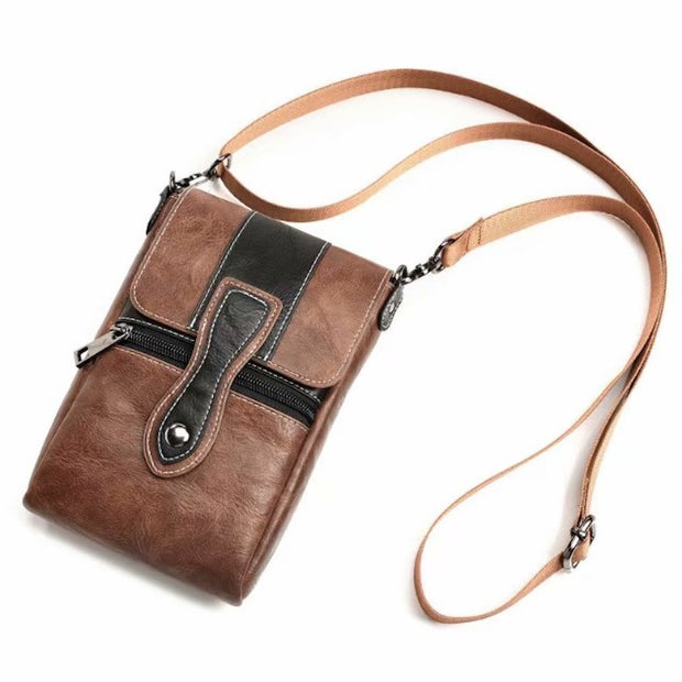 Universal Zipper Shoulder Bag For Iphone 7 8 Plus Wallet Neck Strap Luxury Leather Waist Belt Clip Phone Outdoor Case Funda