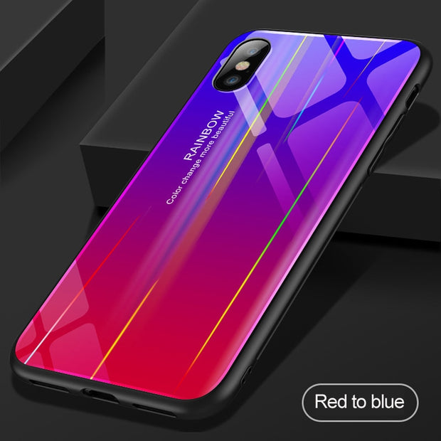 VPOWER Gradient Glass Case For IPhone X XS Max Cover Soft Silicone Glass Case For IPhone X XS Max XR Phone Accessories