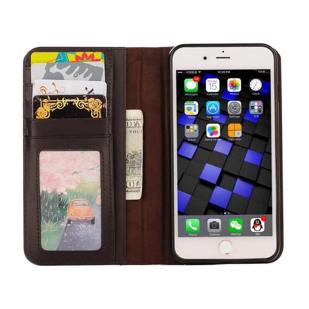 Vintage Wallet Book Case For Apple Iphone 8 7 Plus Case High Quality Retro Pouch Case For Iphone 8 Case Card Slot Holder Pocket