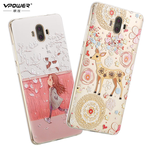 Vpower Phone Case For Huawei Mate 10 3D Stereo Relief Painted Luxury Soft Tpu Cartoon Case Back Cover For Huawei Mate 10 5.9''