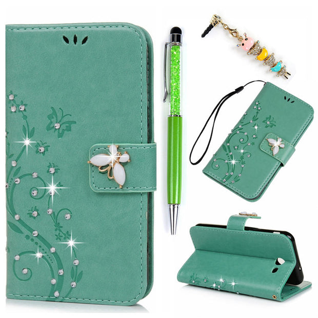 Wallet Case For Samsung Galaxy J3 Prime Luxury Bling Crystal Diamond Leather Flip Cover Fundas For Galaxy J3 Prime / J3 2017