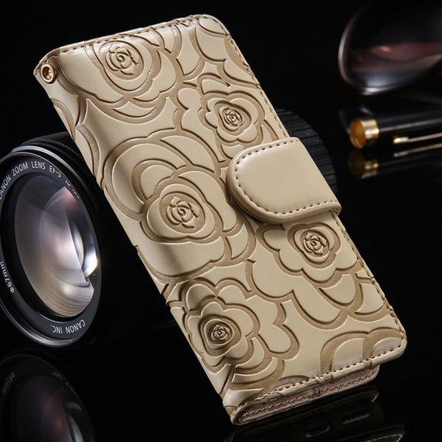 Wallet Case For Samsung S9 Case Leather Embossed Flower Flip Cover For Samsung S7 Edge S8 S9 Plus Note 8 9 Cases With Card Slots