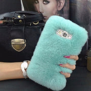 Warm Real Rabbit Fur Plush Case For Samsung Galaxy A6s A9s A7 A9 2018 J3 J4 Prime J6 Plus J7 J8 2018 EU US Note 9 Diamond Cover