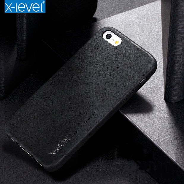 X-Level Leather Case For IPhone 5 5S SE Shockproof Back Cover For IPhone Luxury Business Vintage Cover Case Apple IPhone 5 5S SE