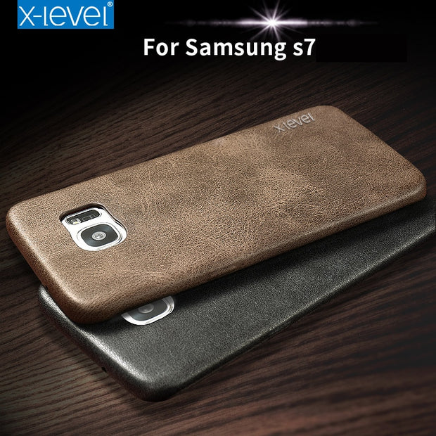 X-Level S7 Leather Phone Case For Samsung Galaxy S7 Ultra Thin Protective Back Cover Case For Samsung Galaxy S7