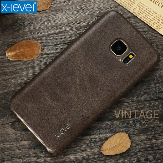 X-Level Soft Luxury PU Leather Case For Samsung Galaxy S7 Ultra Slim Shockproof Full Protection Cover Case For Samsung S7 Edge