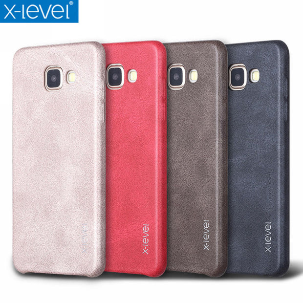 X-Level Vintage Phone Case For Samsung Galaxy A5 2016 A510 A510F Luxury PU Leather Back Case Cover