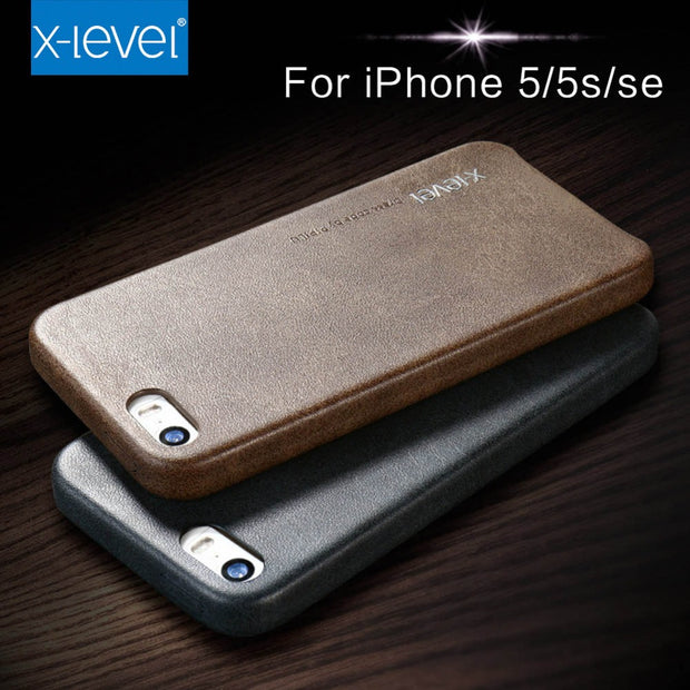 X-Level Vintage Phone Case For IPhone SE 5 5S Luxury PU Leather Back Case Cover