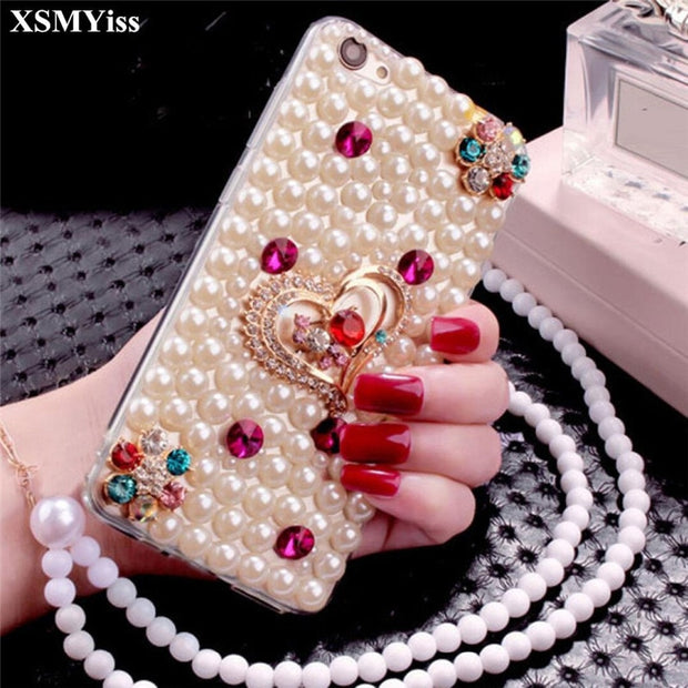 XSMYiss For Huawei P8 P9 P10 P20 Lite Plus Mate 7 8 9 Pro Pearl Rhinestone Love Phone Case Shine Soft Rubber Diamond Back Cover