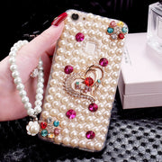 XSMYiss For Samsung S5 S6 S7 Edge S8 S9 Plus Note 3 4 5 8 Pearl Rhinestone Love Phone Case Shine Soft Rubber Diamond Back Cover