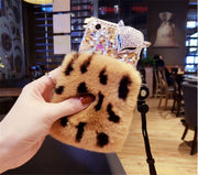 XSMYiss Luxury Bling Rhinestone Fox Diamond Real Rabbit Fur Soft Cover Case For Iphone X 5S 6 6s 7 8 Plus XR Xs Max Case